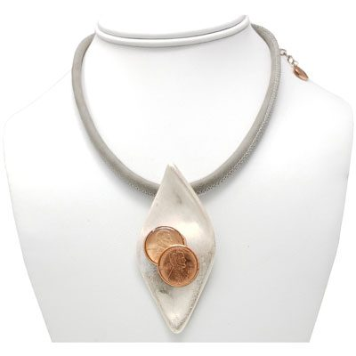 Gray Faux Leather Oyster Shell Choker