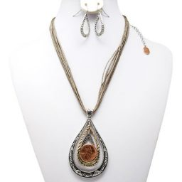 Tri-Pendant Penny Rope Necklace with Earrings