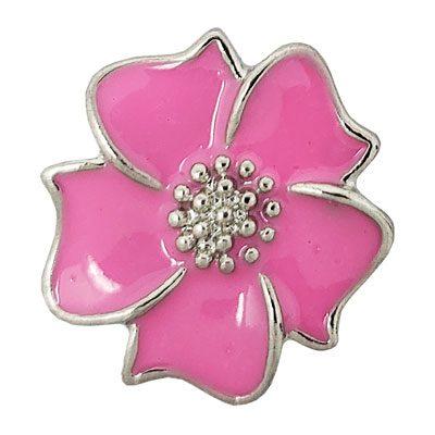 Pink Enameled Flower Treasure Snap