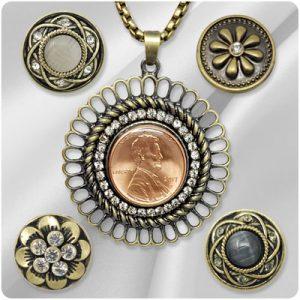 Brass-tone Snap Jewelry