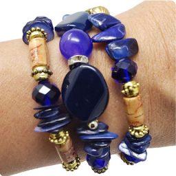 Blue Beaded Mini Penny Bracelet
