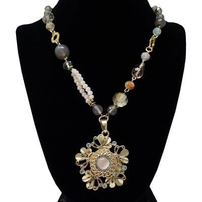 Butterfly Haven Beaded Gold-Tone Snap Necklace