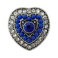 Royal Blue Beaded Heart Treasure Snap