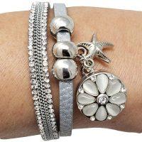 Starfish Faux Leather Snap Bracelet